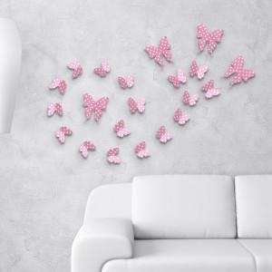 3D Metulji - roza pikčasti