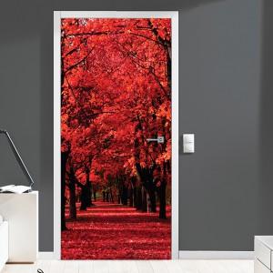 Nalepka za vrata Rdeči gozd (90x200 cm)