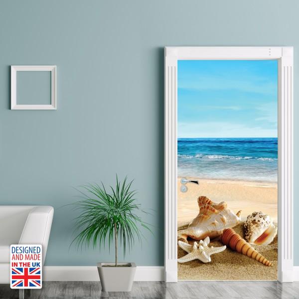 Nalepka za vrata Školjke na plaži (90x200 cm)