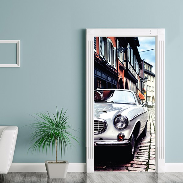 Nalepka za vrata Vintage avto (90x200 cm)
