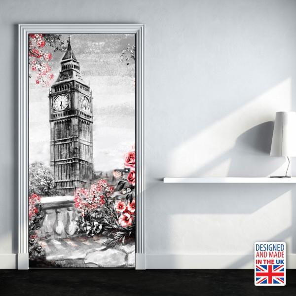 Nalepka za vrata Big Ben (90x200 cm)