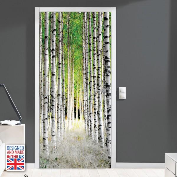 Nalepka za vrata Brezov gozd (90x200 cm)
