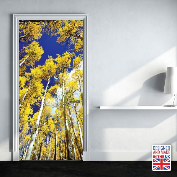 Nalepka za vrata Brezov gozd III (90x200 cm)