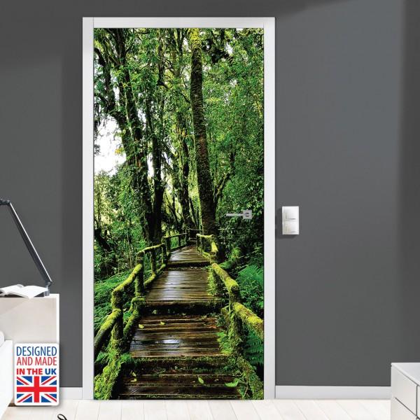 Nalepka za vrata Lesena pot II (90x200 cm)