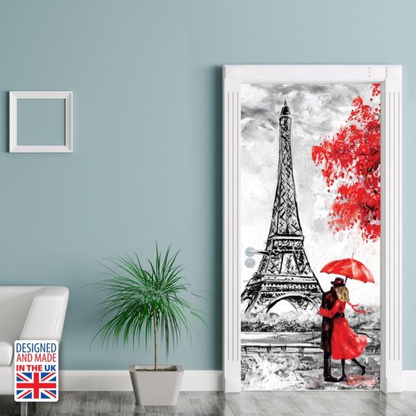 Nalepka za vrata Mesto ljubezni (90x200 cm)