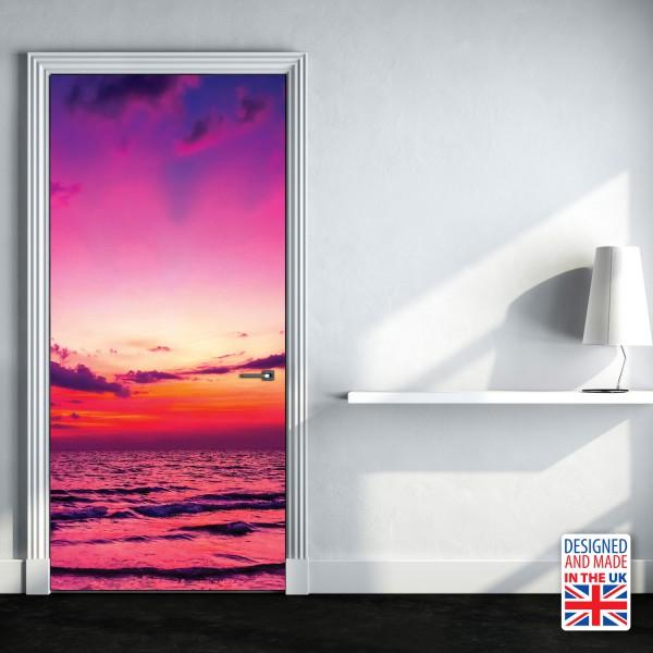 Nalepka za vrata Morski sončni zahod (90x200 cm)