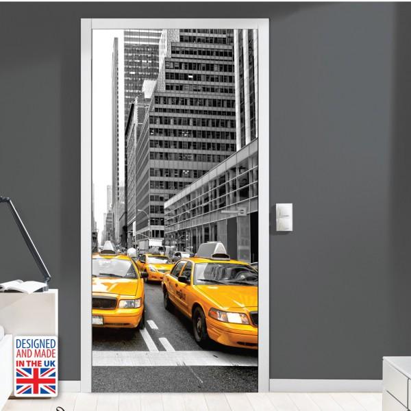 Nalepka za vrata New York Taxi (90x200 cm)