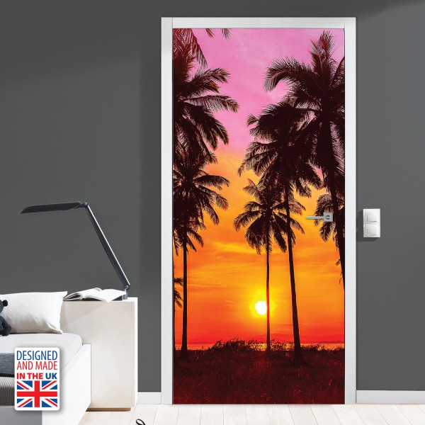 Nalepka za vrata Tropski sončni zahod (90x200 cm)