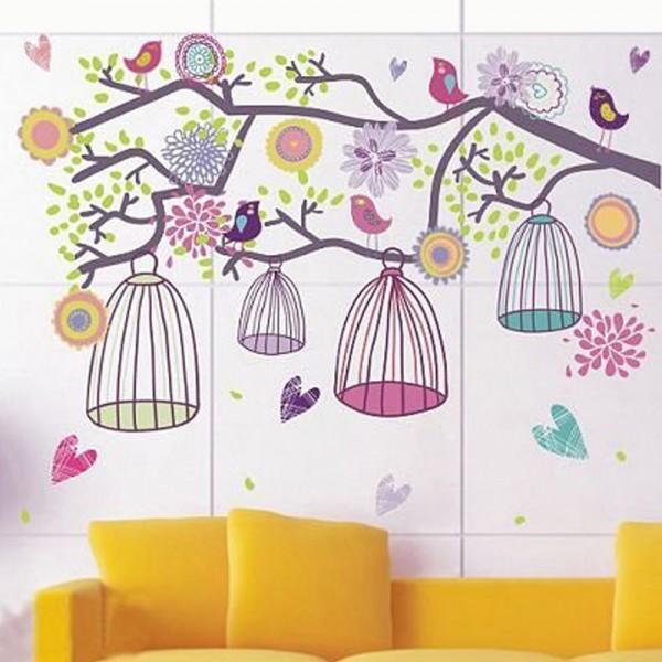 Motiv Barvita ptičja kletka na drevesu
