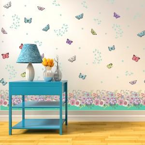 Motiv Barvite rože z metulji III