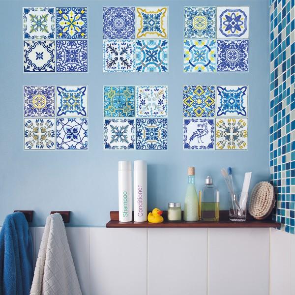 Samolepilna tapeta Mediteranske modre ploščice (12x 20x20 cm)