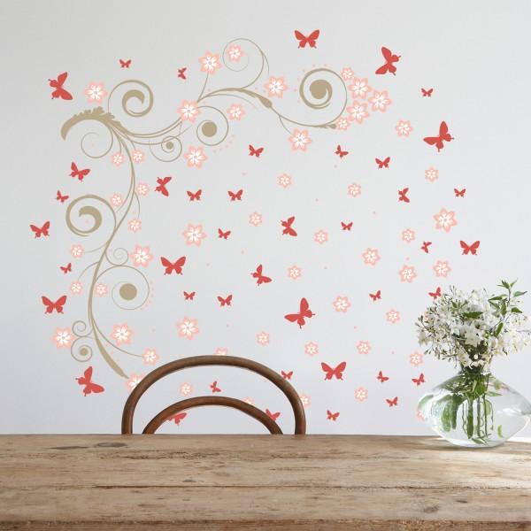 Motiv Trta in rdeči metuljčki