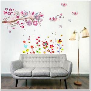 Motiv Veliko drevo in Barvite rože