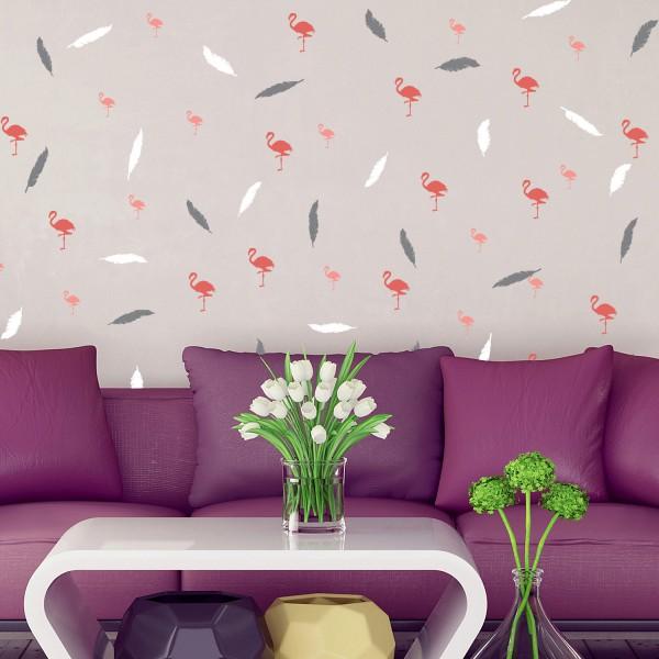 Motiv Flamingi in Sivo - belo perje