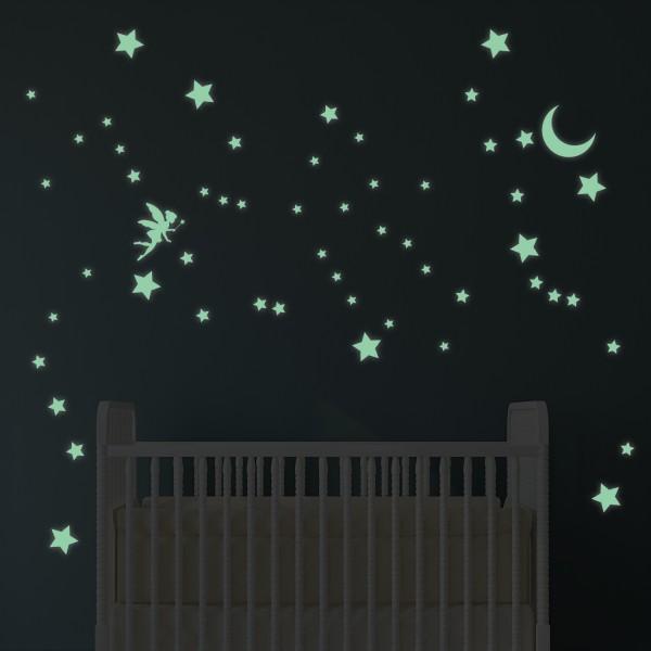 Motiv Svetleča vila, zvezdice in luna