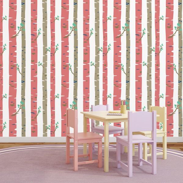 Samolepilna tapeta Rdeče breze (4x 60x90 cm)