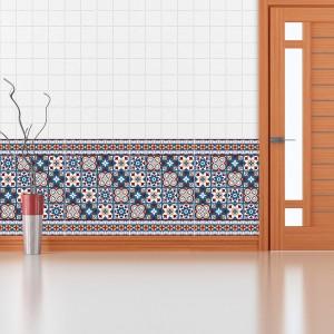 Samolepilna tapeta Rdeče-modre Talavera ploščice (24x 10x10 cm)