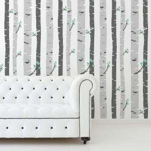 Samolepilna tapeta Sive breze (4x 60x90 cm)